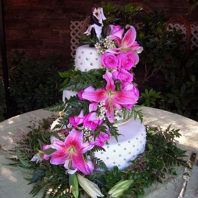Three Tier Wedding Cake With Live Flowers.