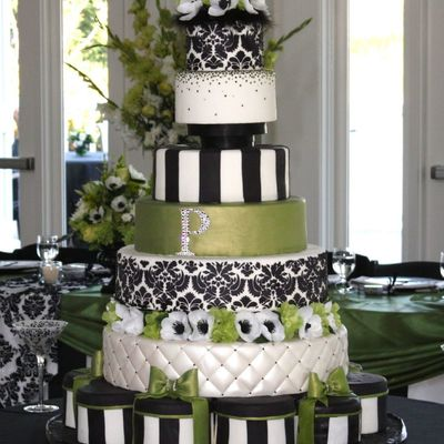 Green Black And White Damask Wedding Cake on Cake Central