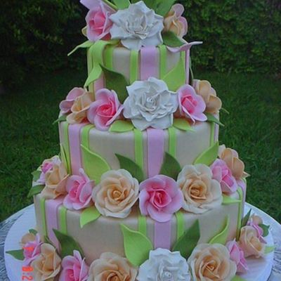 Bow. Stripe And Roses on Cake Central