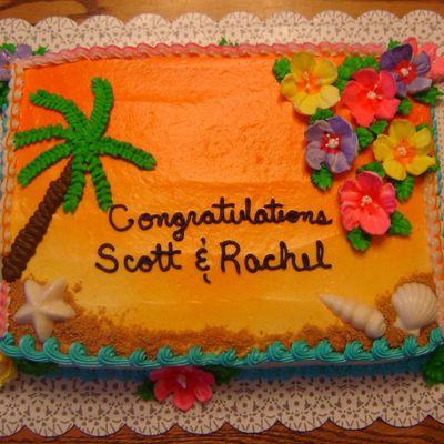 hawaiian wedding shower cake