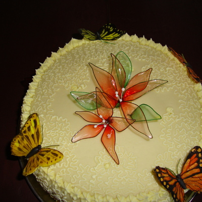 Gelatine Flowers And Butterflies