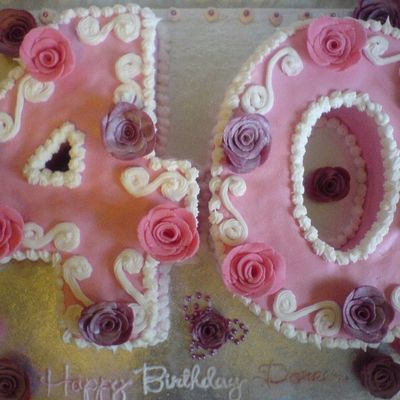 Pink And Pretty 40Th Number Cake