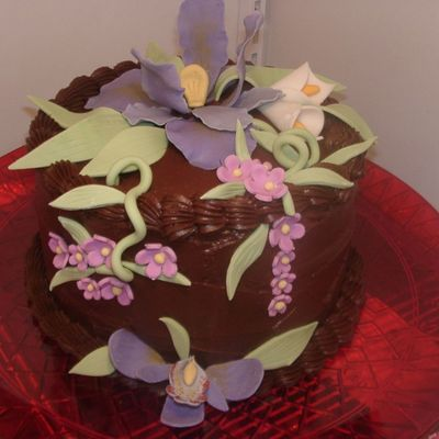 Chocolate Cake W/ Iris & Orchid on Cake Central