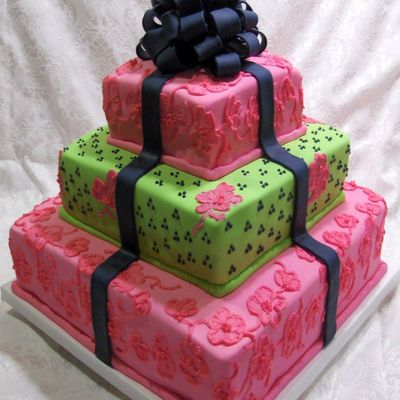 Lime, Navy, Hot Pink Cake