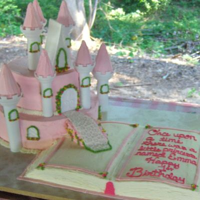 Storybook With Pink Castle Cake