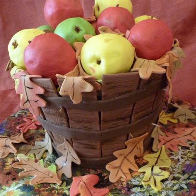 Basket Of Apples With Fall Leaves