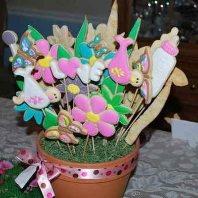 Baby Shower Cookie Flower Pot