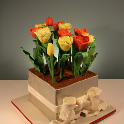Potted Tulip Vase Birthday Cake