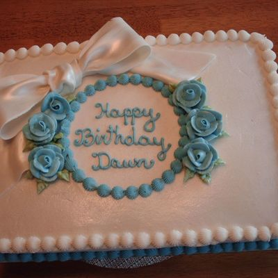 Blue Flowers And Fondant Bow on Cake Central