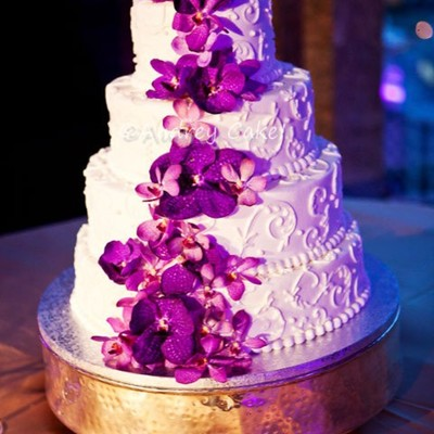 Purple Orchid Scrolled Wedding Cake on Cake Central