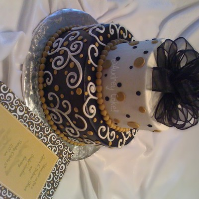 Black & Gold Bridal Shower Cake