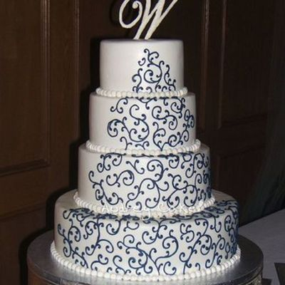 Navy Scrolls Wedding Cake