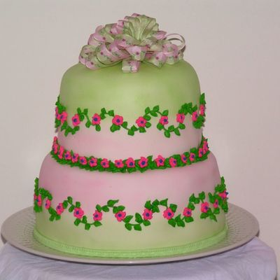 Pink Green Ribbon Cake on Cake Central