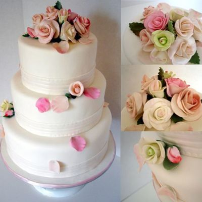 3-Tier Wedding Cake With Sugar Flowers on Cake Central