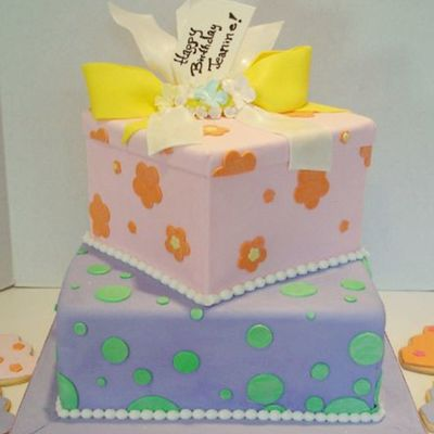 Two-Tier Gift Box Cake