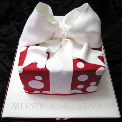 Red Polka Dot Christmas Present Cake