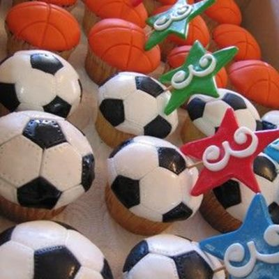 Soccer (Football) And Basketball Cupcakes