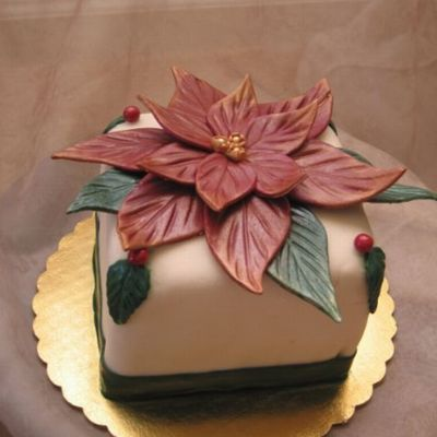 Poinsettia Cake - White Chocolate Fondant
