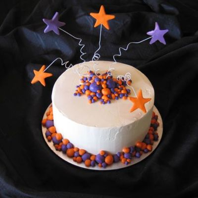 "Orange And Purple 8"" Birthday Cake"