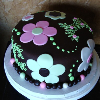Chocolate Fondant Pink/green/white Flowers Cake on Cake Central