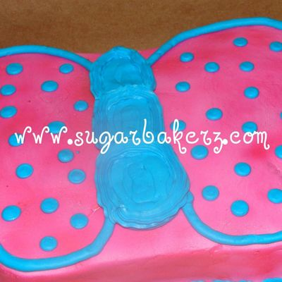 Pink Butterfly With Blue Trim And Dots
