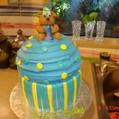 Birthday Bear On A Large Cupcake