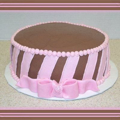 Chocolate W/ Pink Stripes And Bow on Cake Central