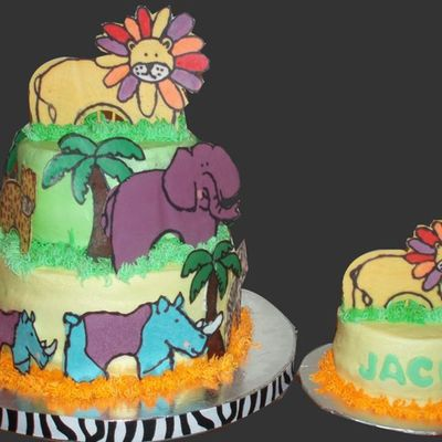 First Birthday Jungle Cake
