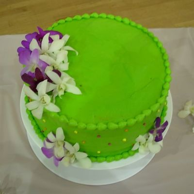 Green Wedding Cake With Fresh Orchids - Mr & Mrs Poole on Cake Central