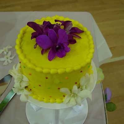 Yellow Wedding Cake With Fresh Orchids - Mr & Mrs Poole on Cake Central