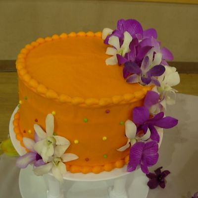 Orange Wedding Cake With Orchids - Mr & Mrs Poole on Cake Central