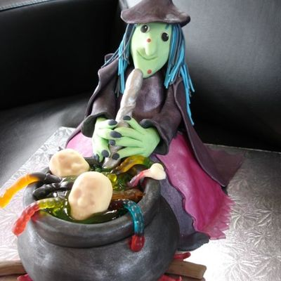 Wondermold Amp Sports Ball Pan Fondant Dress And Cauldron Gumpaste Body Face Hat And Arms Piping Gell Inside The Cauldron Had Fun Wi on Cake Central