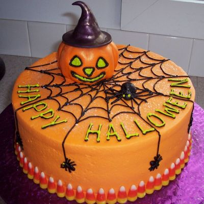 Pumpkin Witch And Spiders on Cake Central