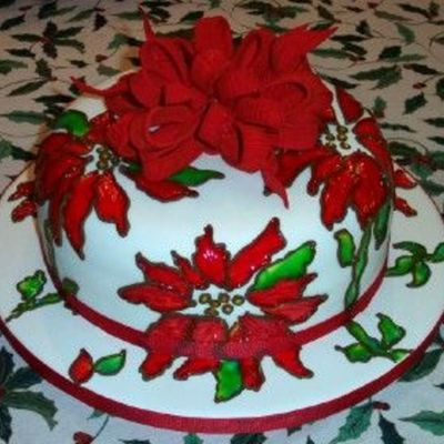 Poinsettia's & Velvet Bow on Cake Central