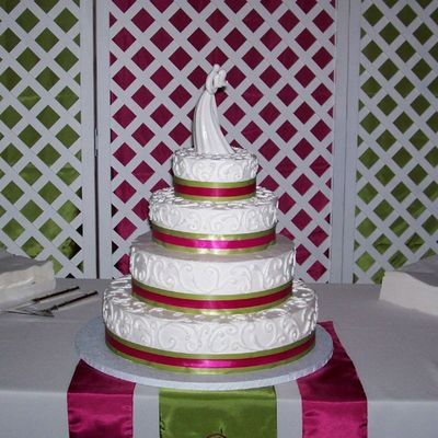 4 Tier Cake With Pink & Green Ribbon