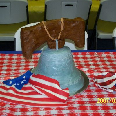 Liberty Bell With Us Flag