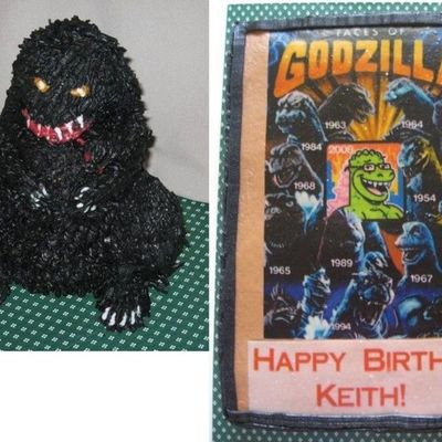 Godzilla, 3-D And Sheet Cake For Ds Birthday