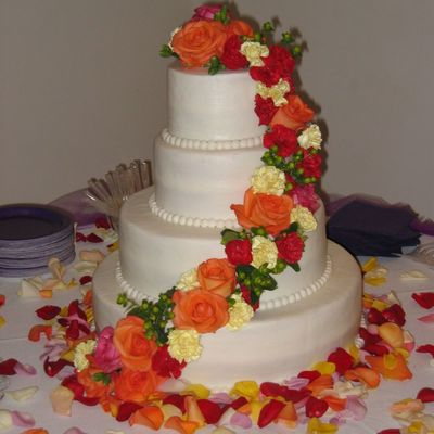 4 Tier Wedding W/ Fresh Flowers