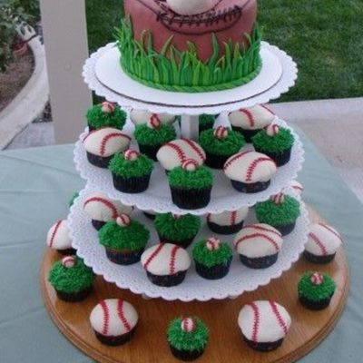 Baseball Glove & Cupcake Tower