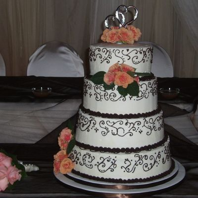 Brown And Coral Wedding Cake
