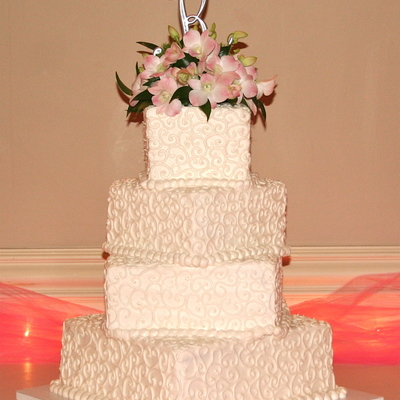 Wedding Cake With Fresh Orchids