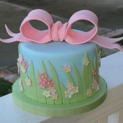 Springtime Grass And Bow on Cake Central