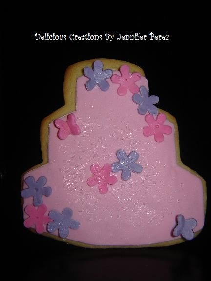 Wedding Cake Cookie With Tiny Flowers & Butterflies