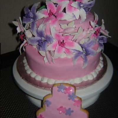 Here Is The Wedding Cake With The Cookie I Made To Match