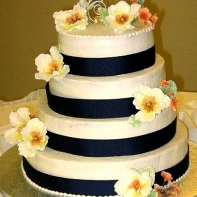 Wedding Cake - Blue With Peonies