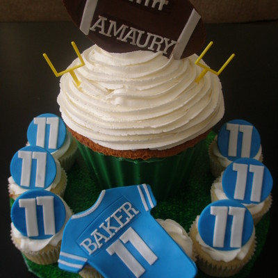 Football Themed Giant Cupcake