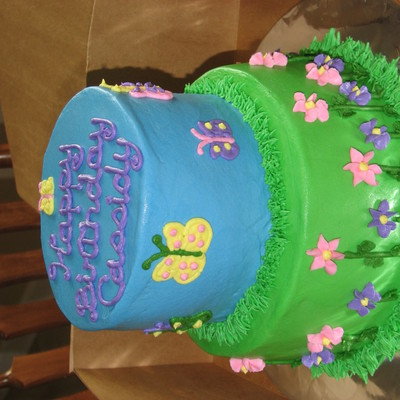 Butterfly And Flower Cake