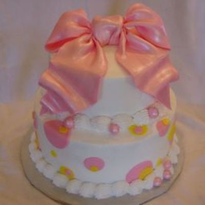 Pink/yellow Polka Dots With Pink Bow on Cake Central