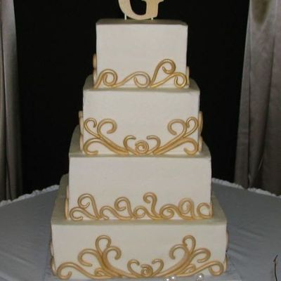 Gold Fondant Scrolls On 4 Tier Square