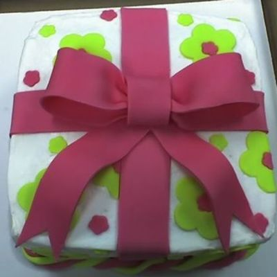 Pink And Green Flower And Bow Cake on Cake Central